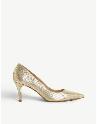 Dune Andrie snake-embossed leather kitten heel court shoes