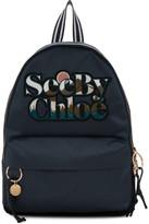 See by Chloe Blue Satin Logo Backpack