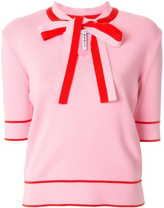 MSGM Pussybow Collar Short-Sleeved Top