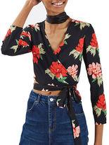Topshop PETITE Sophia Floral Wrap Blouse
