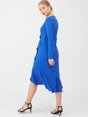 Very Ruffle Woven Midi Dress - Cobalt