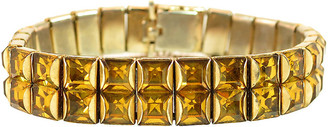 One Kings Lane Vintage 1930s Art Deco Amber Crystal Bracelet - Neil Zevnik - gold/amber