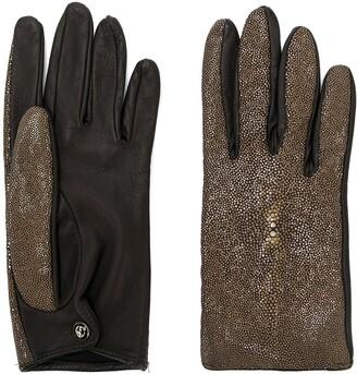Giorgio Armani Pre Owned Metallic Panelled Glove