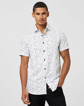 Le Château Geo Print Cotton Sateen Tailored Fit Shirt