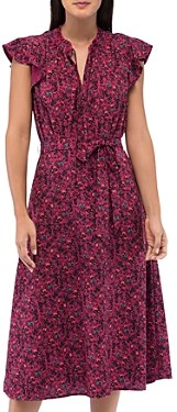 Bobeau B Collection by Savoy Ditsy Floral Flutter-Sleeve Dress