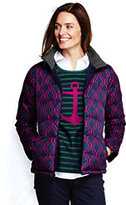 Lands' End Women's Petite Down Jacket-Classic Navy Lattice Print