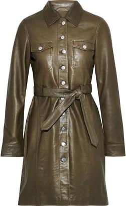 Muu Baa Muubaa Belted Leather Mini Shirt Dress