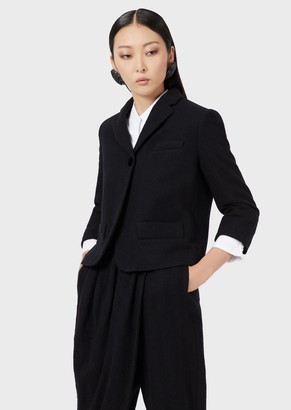 Emporio Armani Washed Wool Jacket With Lapels