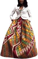 Dearlovers Retro African Print A Line Maxi Skirts