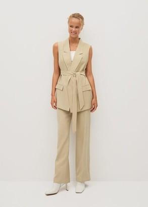 MANGO Pocket suit waistcoat beige - XS - Women
