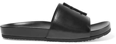 Saint Laurent Joan Embellished Leather Slides - Black