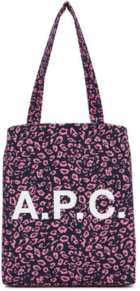 A.P.C. Navy and Pink Leopard Lou Tote