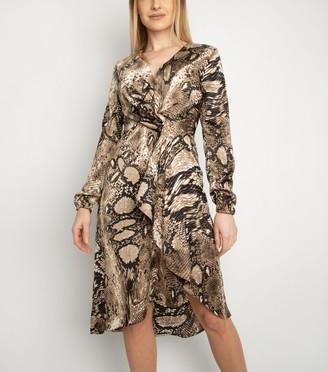New Look Miss Attire Snake Print Wrap Dress