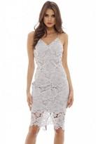 AX Paris Grey V Neck Lace Midi Dress