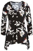Chaus Women's Floral Vision Ruched Handkerchief Hem Top