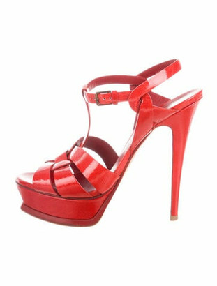 Saint Laurent Patent Leather T-Strap Sandals Red