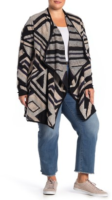 Lucky Brand Drape Front Intarsia Cardigan (Plus Size)
