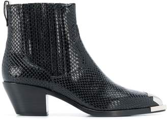 Ash Floyd snake-pattern ankle boots