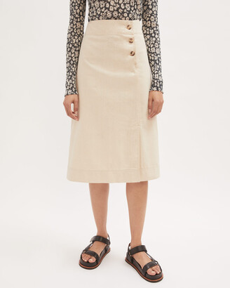 Jigsaw Denim Side Button Midi Skirt