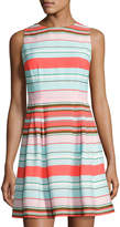 CeCe by Cynthia Steffe Clairborne Striped Fit & Flare Dress, Blue Pattern