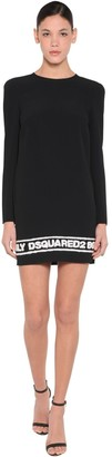 DSQUARED2 Logo Stretch Viscose Crepe Dress