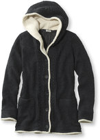 L.L. Bean Women's Lined Sherpa-Trimmed Sweater Hoodie Misses Regular