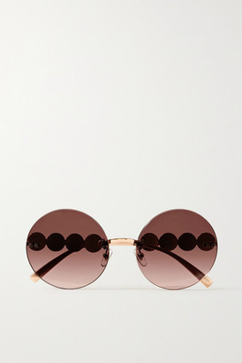 Versace Round-frame Rose Gold-tone Sunglasses - Pink