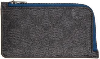 Coach 1941 Grey Signature Multi Zip Card Holder
