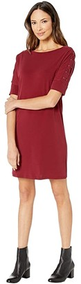 MICHAEL Michael Kors Dolman Sleeve Grommet Dress (Dark Brandy) Women's Clothing