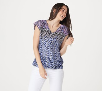 Belle By Kim Gravel Woven Abstract Print Top with Front Knot