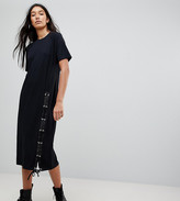 Asos Tall TALL Midi T-Shirt Dress With Lace Up