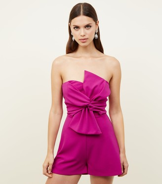 New Look Bow Front Strapless Playsuit