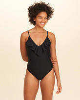 Hollister Ruffle V-Neck One-Piece Swimsuit