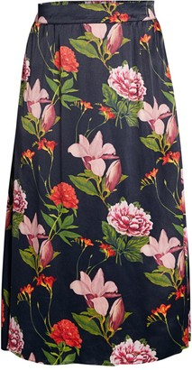 Catherine Malandrino Floral Midi A-Line Skirt
