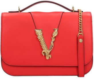 Versace Hand Bag In Red Leather