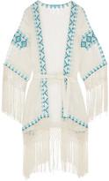 Melissa Odabash Dana Embroidered Voile Robe - White