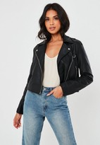 Missguided Black Ultimate Boxy Faux Leather Biker Jacket