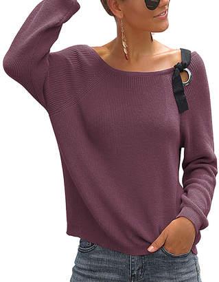Abyoxi Women's Pullover Sweaters purple - Purple Lace-Up Detail Off-Shoulder Sweater - Women