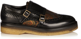 Etro Monk-strap jacquard leather and snakeskin loafers