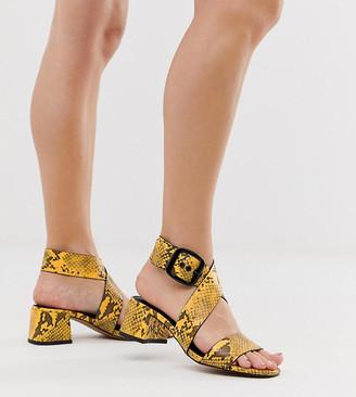 Asos Design DESIGN Wide Fit Hip Hop heeled sandals in yellow snake-Multi