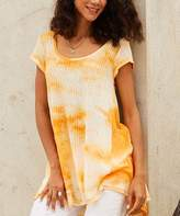 Suzanne Betro Weekend Women's Tunics 101cream - Creamsicle Sheer Tie-Dye Pleat-Back Hi-Low Tunic - Women