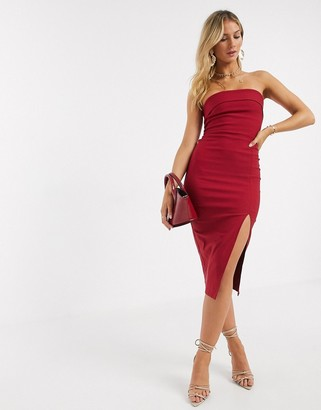 Vesper bandeu midi dress in red