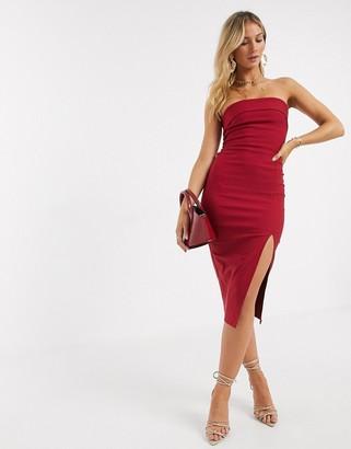 Vesper bandeu midi dress in red
