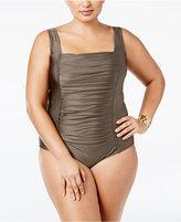 Calvin Klein Plus Size Pleated One-Piece Swimsuit