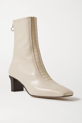 AEYDĒ Molly Paneled Smooth And Croc-effect Leather Ankle Boots - Cream