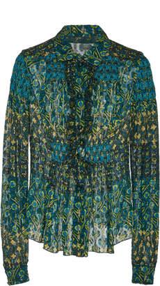 Anna Sui Patchwork Petals Metallic Jacquard Blouse