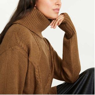 Joe Fresh Women's Cable Knit Turtleneck Sweater, Fuchsia (Size XL)