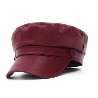 GEMVIE Women Ladies Newsboy Cabbie Hat Soft Leather Flat Fiddler Sailor Cap Yacht Military Cadet Cap Red