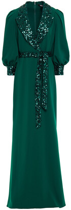 Badgley Mischka Belted Wrap-effect Sequin-embellished Crepe Gown