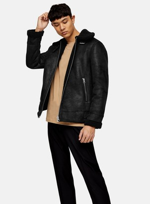 Topman Black Faux Shearling Aviator Jacket